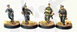 Waffen SS man with cigarettes, sniper walking, Rona officer & LMG gunner
