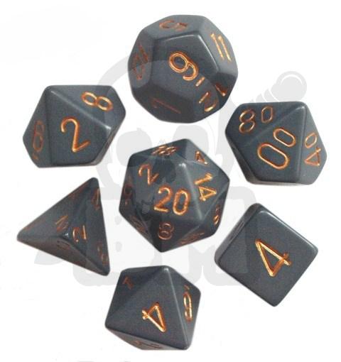 a7ac89ad6a824b Kości RPG 7 szt matowe Dark Grey w/copper zestaw K4 6 8 10 12 20 i 00-90  kostki + pudełko