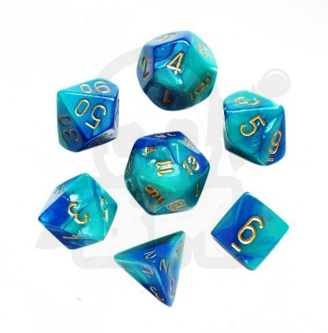7c6cc6d36ca97d Kości RPG 7 szt. Gemini Blue-Teal w/gold zestaw K4 6 8 10 12 20 i 00-90  kostki+ pudełko