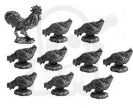 Rooster and hens - 10 pcs