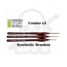 Synthetic Brushes PRO #2/0 #1 #3 pędzelki 3 szt.