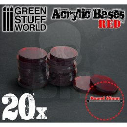 Acrylic Bases - Round 25 mm RED x20