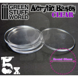 Acrylic Bases - Round 50 mm CLEAR x5