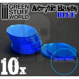 Acrylic Bases - Round 40 mm CLEAR BLUE x10