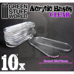 Acrylic Bases - Oval Pill 25x70mm CLEAR x10