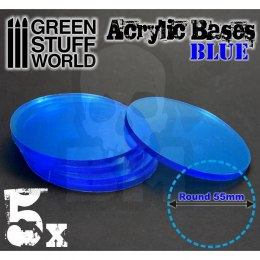 Acrylic Bases - Round 55 mm CLEAR BLUE x5