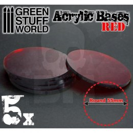 Acrylic Bases - Round 55 mm CLEAR RED x5