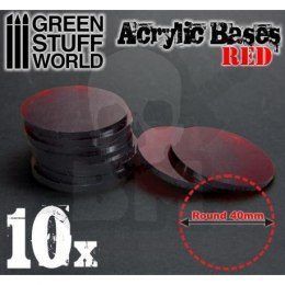 Acrylic Bases - Round 40 mm CLEAR RED x10