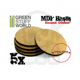 MDF Bases - Round 50mm x5