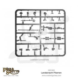 Landsknechts Pikemen Command sprue with options for officers, standard bearers, drummers, etc.