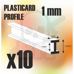 ABS Plasticard - Profile DOUBLE-T 1mm x10