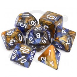 Set of 7 RPG dice 2Color - Blue/Gold d4 6 8 10 12 20 i 00-90