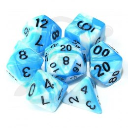 Set of 7 RPG dice 2Color - Azure/White d4 6 8 10 12 20 i 00-90