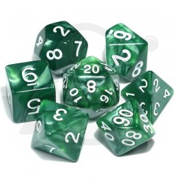 Set of 7 RPG dice Pearl - Green/white d4 6 8 10 12 20 i 00-90