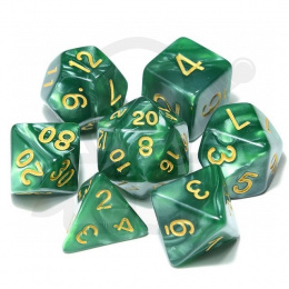 Set of 7 RPG dice Pearl - Green/gold d4 6 8 10 12 20 i 00-90