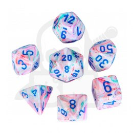 Set of 7 rpg dice Festive Pop Art/blue D4 D6 D8 D10 D12 D20 D00-90