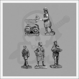 Three female civilians & boy - 4 pcs 1:72