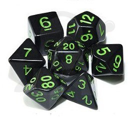 Set of 7 RPG dice Opaque - Black/Green K4 6 8 10 12 20 i 00-90