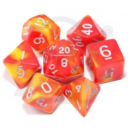 Set of 7 RPG dice 2Color - Dark Red/Yellow d4 6 8 10 12 20 i 00-90