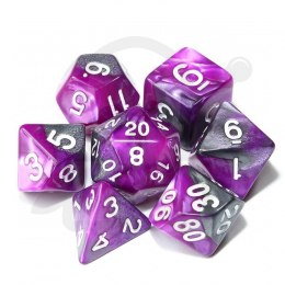 Set of 7 RPG dice 2Color - Purple/Silver d4 6 8 10 12 20 i 00-90