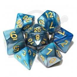 Set of 7 RPG dice 2Color - Turquoise/Silver d4 6 8 10 12 20 i 00-90