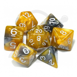 Set of 7 RPG dice 2Color - Yellow/Grey d4 6 8 10 12 20 i 00-90