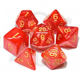 Set of 7 RPG dice Pearl - Red/gold d4 6 8 10 12 20 i 00-90