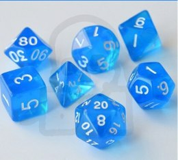 Set of 7 RPG dice Transparent Blue d4 6 8 10 12 20 i 00-90