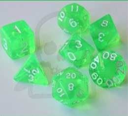 Set of 7 RPG dice Transparent Green d4 6 8 10 12 20 i 00-90
