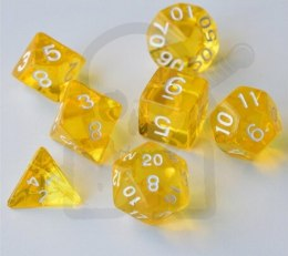 Set of 7 RPG dice Transparent Yellow d4 6 8 10 12 20 i 00-90