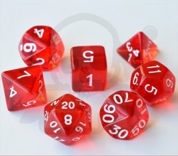 Set of 7 RPG dice Transparent Red d4 6 8 10 12 20 i 00-90