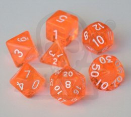 Set of 7 RPG dice Transparent Orange d4 6 8 10 12 20 i 00-90