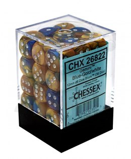 Kostki Chessex K6 12mm Gemini Blue-Gold/white 36 szt.