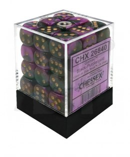 Kostki Chessex K6 12mm Gemini Black-Purple w/gold 36szt.